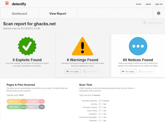 detectify scan website