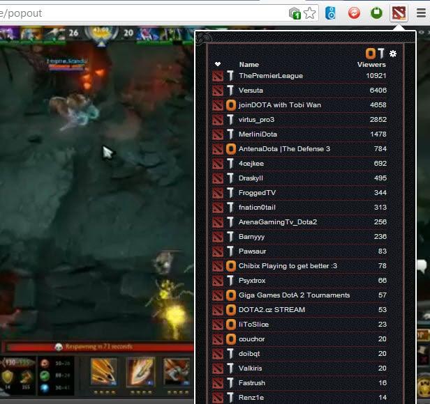 dota2 stream browser