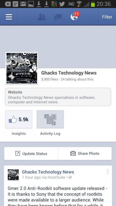 facebook pages app android
