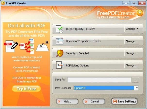free pdf creator screenshot