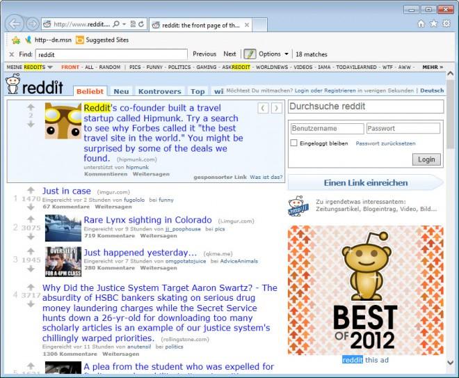 internet explorer on-page find