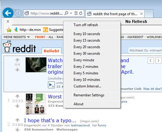 internet explorer refresh