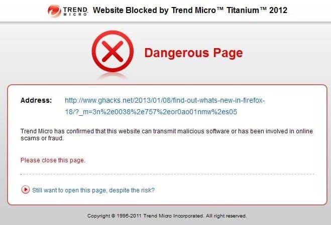 trend micro dangerous page