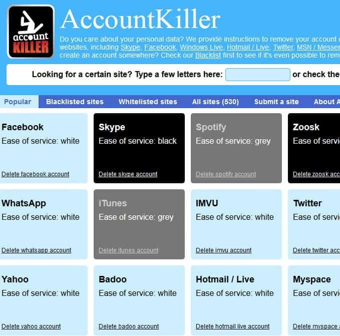 accountkiller screenshot
