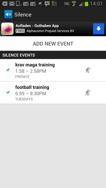 android silence on schedule screenshot
