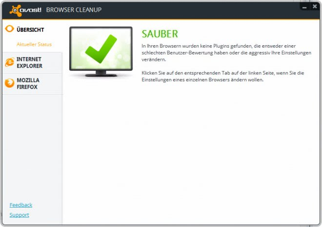 avast browser cleanup tool screenshot