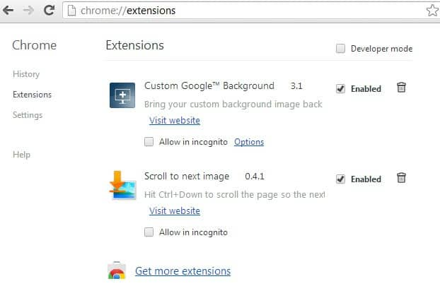 chrome extensions enable disable screenshot