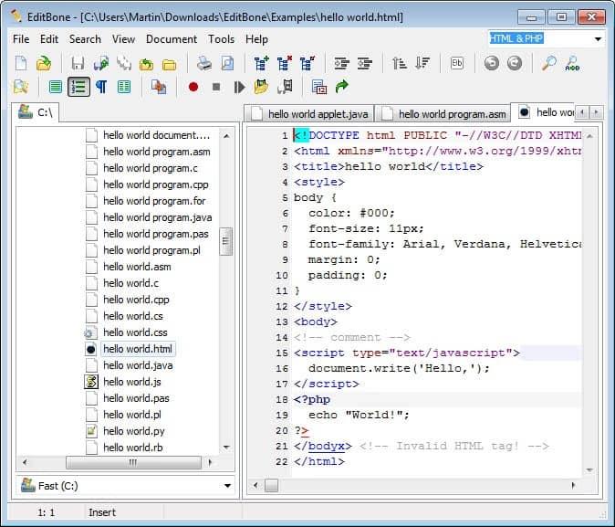 editbone text editor screenshot