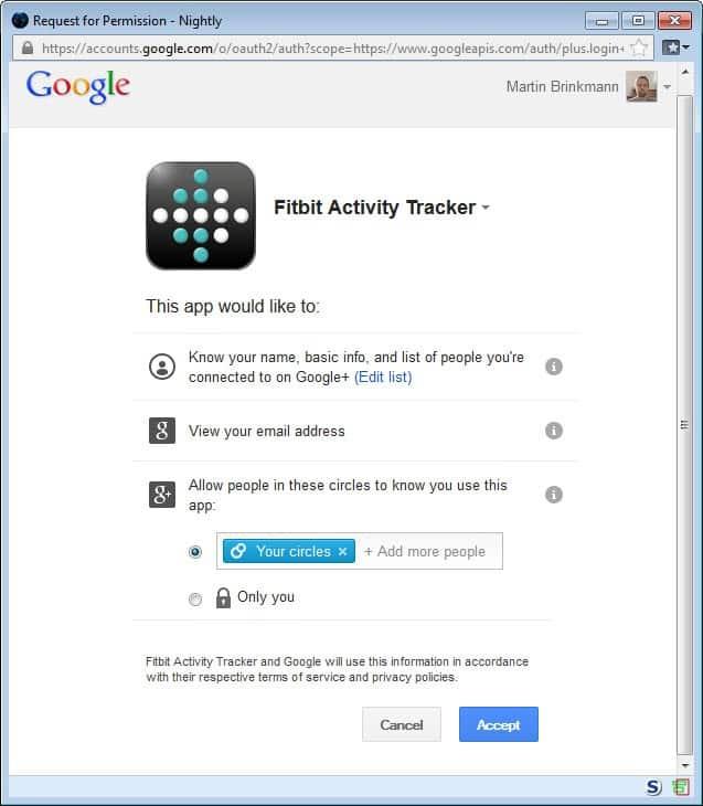 google+ sign-in permissions screenshot