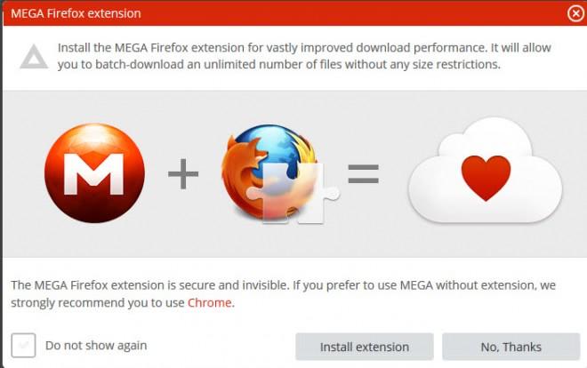 mega firefox extension screenshot