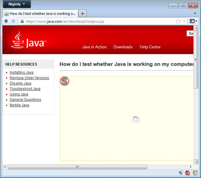 noscript blocking java screenshot
