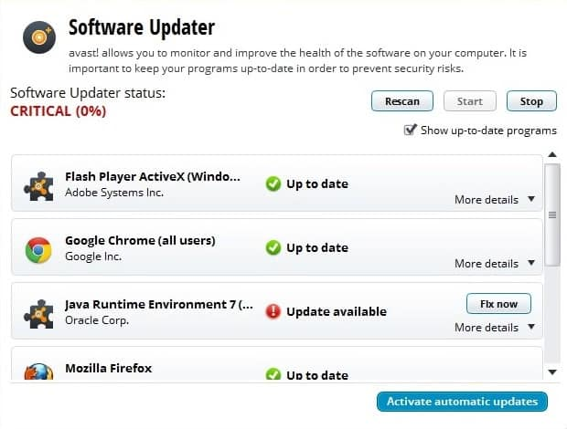 software updater screenshot