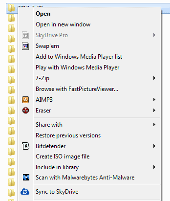 sync to skydrive screenshot