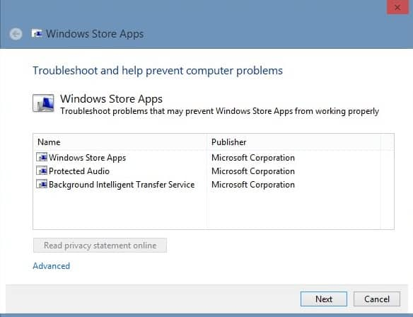 windows store apps troubleshoot screenshot