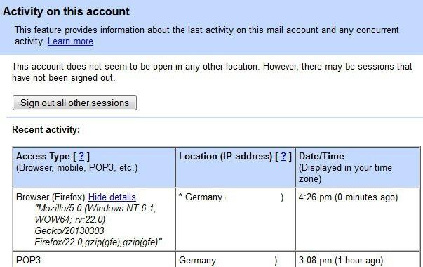 gmail activity