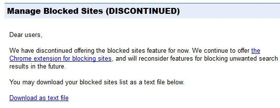 manage blocked sites discontinued