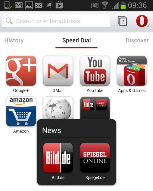 opera speed dial screenshot