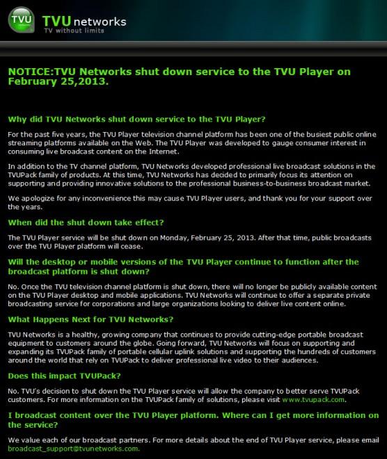 tvu player shutdown