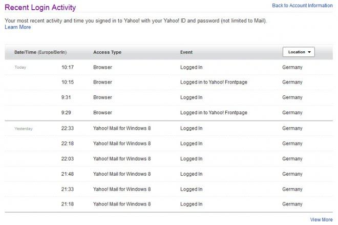 yahoo recent account security list