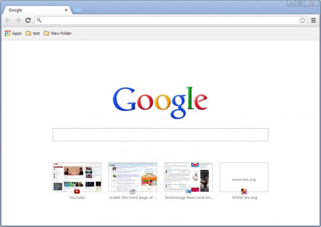 Chrome tab page