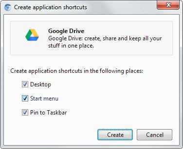 create application shortcuts
