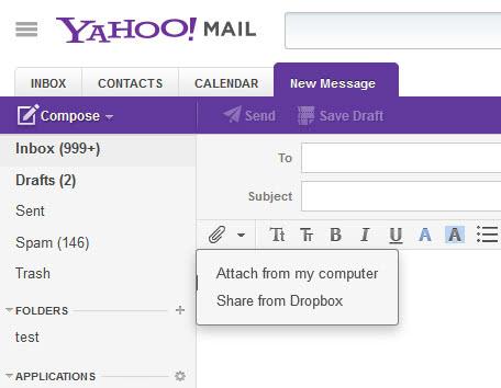 dropbox yahoo mail