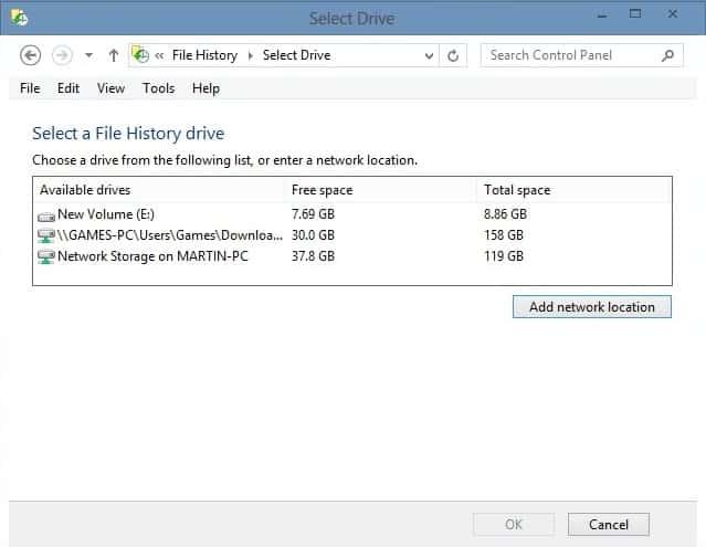 file history add drive