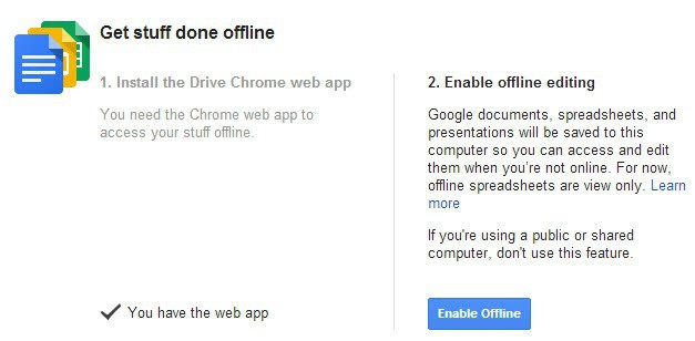 Use Google Drive contents while you are offline