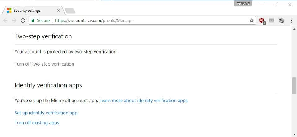 microsoft two-step verification
