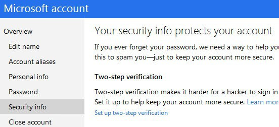 set up two step verification