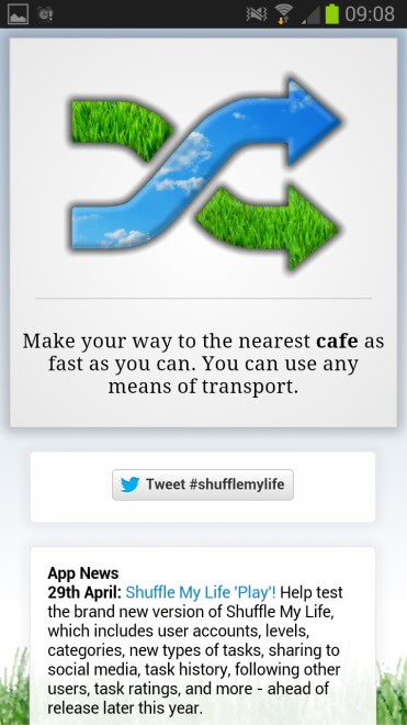 shuffle my life - Shuffle My Life for Android gives you tasks that may improve your life