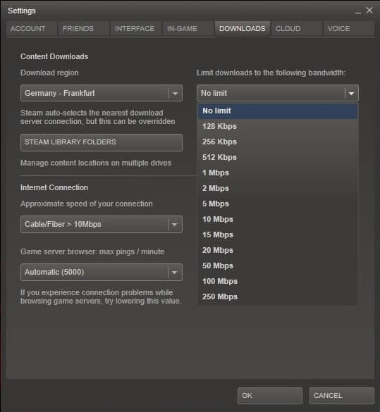 steam limit download bandwidth