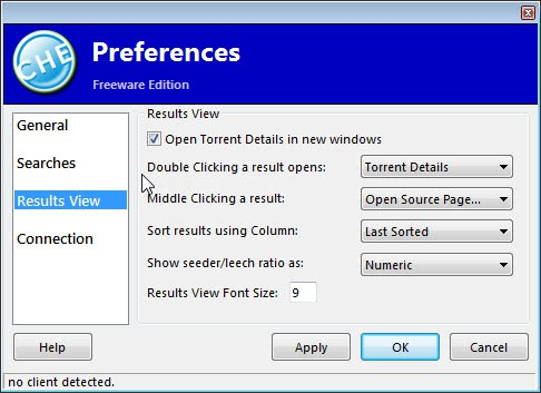 torrent search preferences