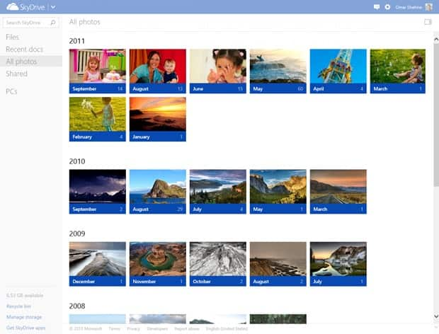 SkyDrive timeline month view