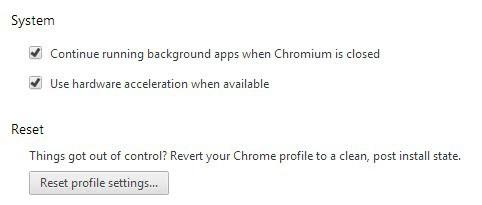 chrome reset profile settings