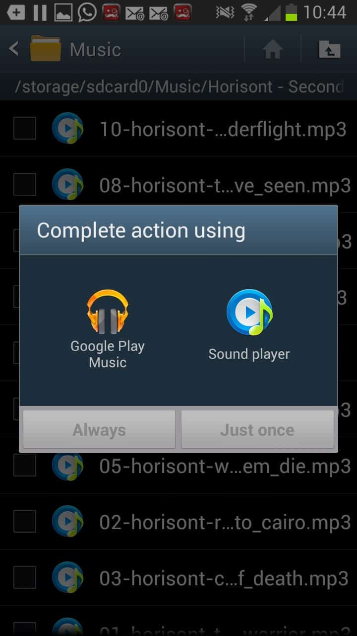 Action complete android