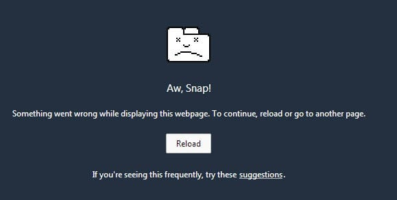 fix aw snap in Google chrome