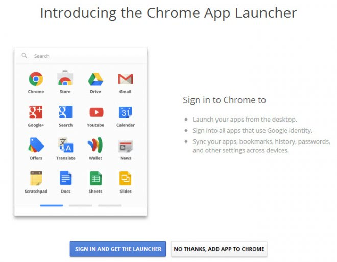 introducing the chrome app launcher