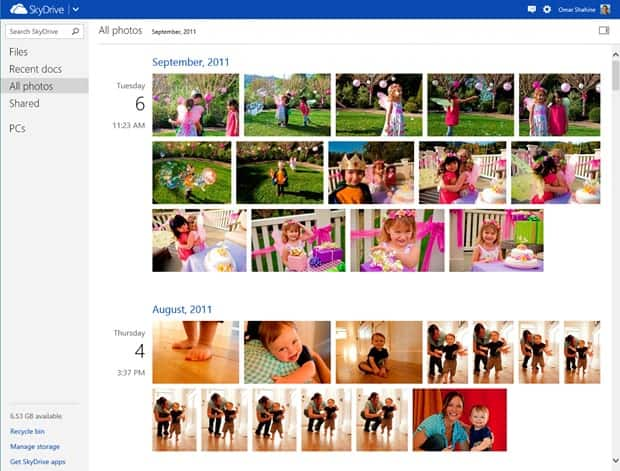 skydrive timeline view