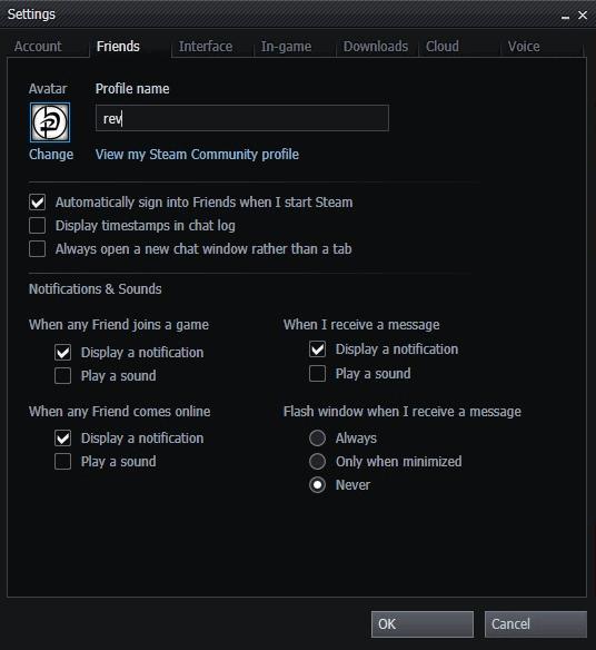 steam notification settings