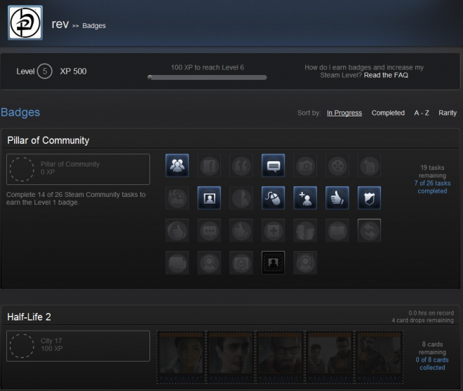 steam trading cards profile view