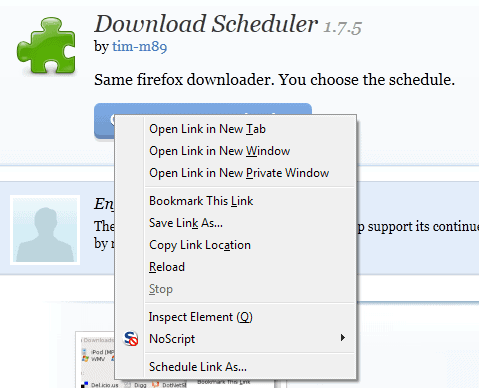 download scheduler firefox