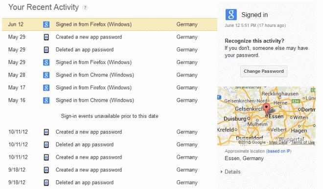 google recent activity