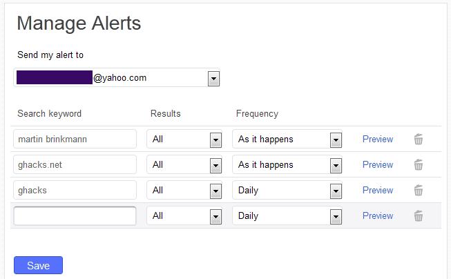yahoo search alerts