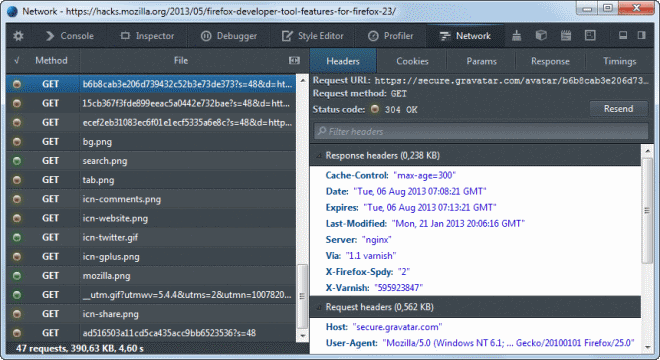 firefox 23 network monitor