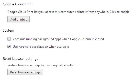 reset chrome browser