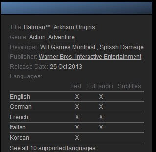 steam languages support