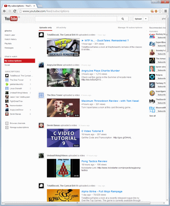 youtube default subscriptions page layout