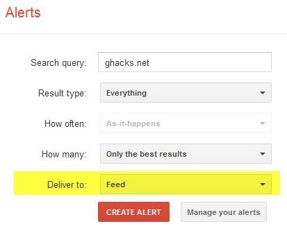 google alerts feed