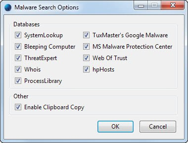 malware search options